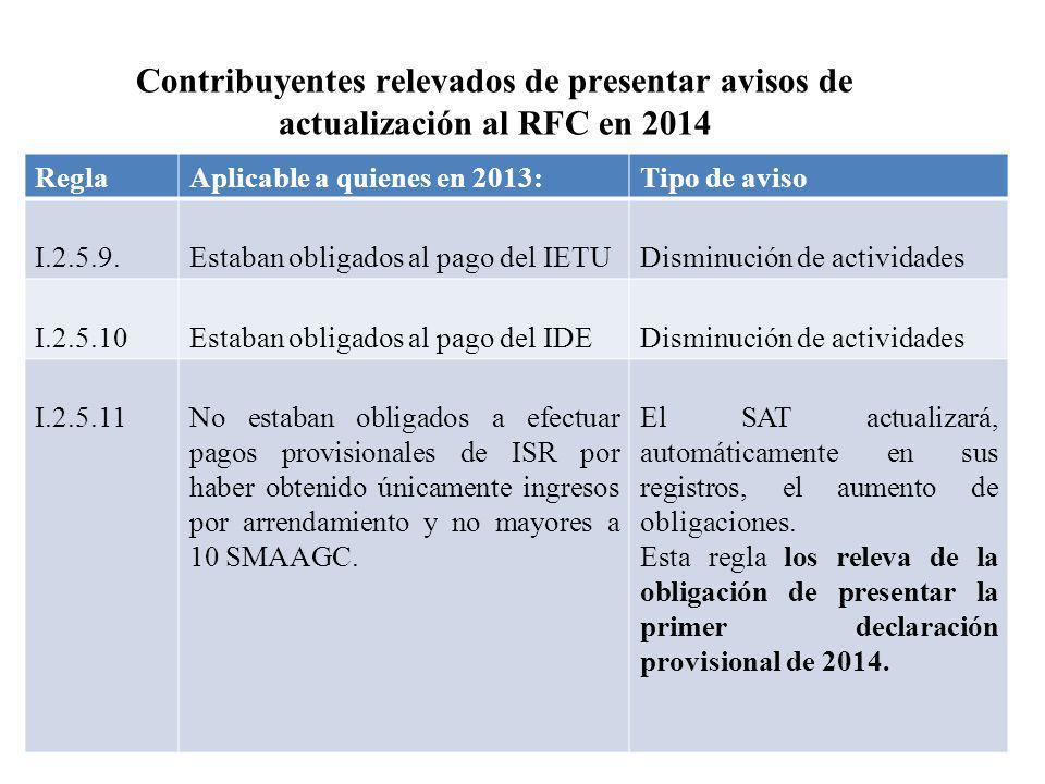 Contribuyentes relevados de presentar avisos de actualización al RFC en 2014 ReglaAplicable a quienes en 2013:Tipo de aviso I.2.5.9.Estaban obligados