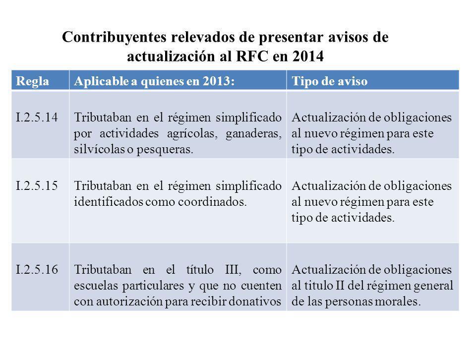 Contribuyentes relevados de presentar avisos de actualización al RFC en 2014 ReglaAplicable a quienes en 2013:Tipo de aviso I.2.5.14Tributaban en el r