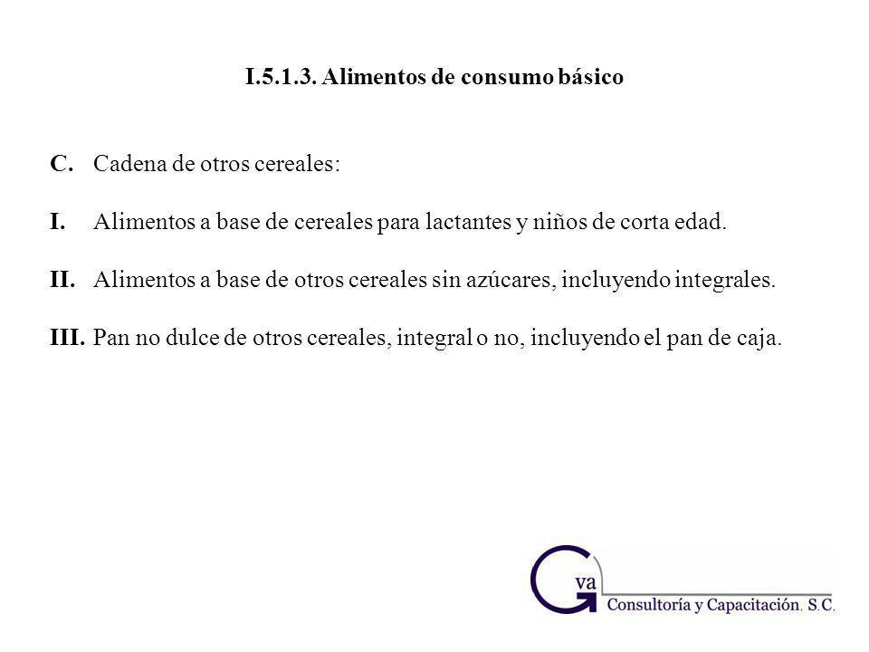 I.5.1.3. Alimentos de consumo básico C. Cadena de otros cereales: I. Alimentos a base de cereales para lactantes y niños de corta edad. II. Alimentos