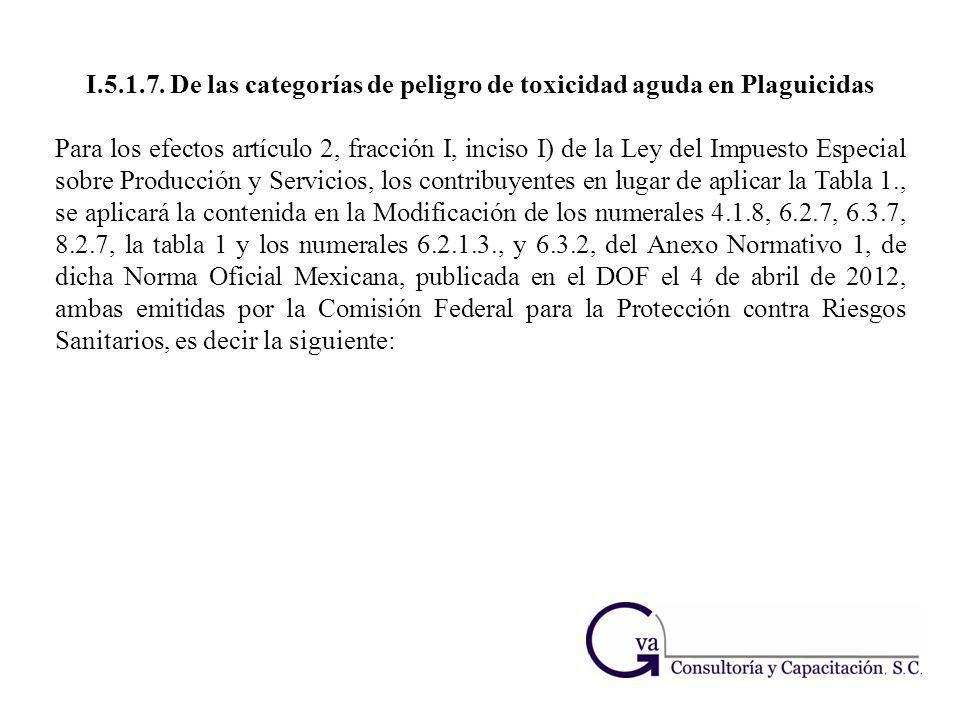I.5.1.7. De las categorías de peligro de toxicidad aguda en Plaguicidas Para los efectos artículo 2, fracción I, inciso I) de la Ley del Impuesto Espe