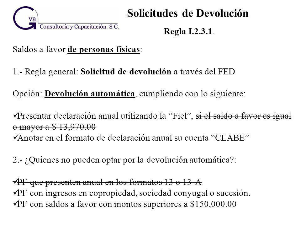 Solicitudes de Devolución Regla I.2.3.1. Saldos a favor de personas físicas: 1.- Regla general: Solicitud de devolución a través del FED Opción: Devol