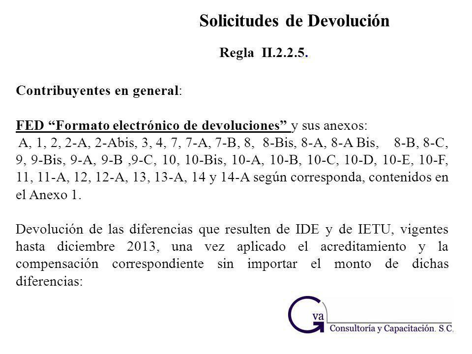 Solicitudes de Devolución Contribuyentes en general: FED Formato electrónico de devoluciones y sus anexos: A, 1, 2, 2-A, 2-Abis, 3, 4, 7, 7-A, 7-B, 8,