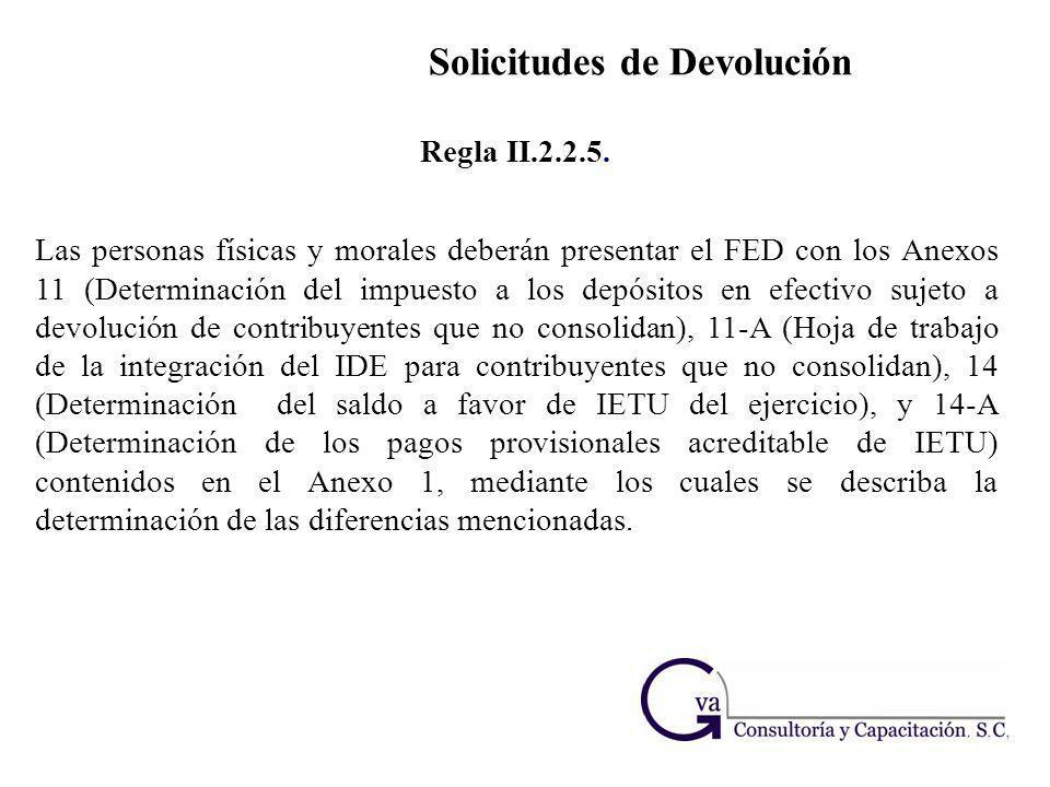 Solicitudes de Devolución Las personas físicas y morales deberán presentar el FED con los Anexos 11 (Determinación del impuesto a los depósitos en efe