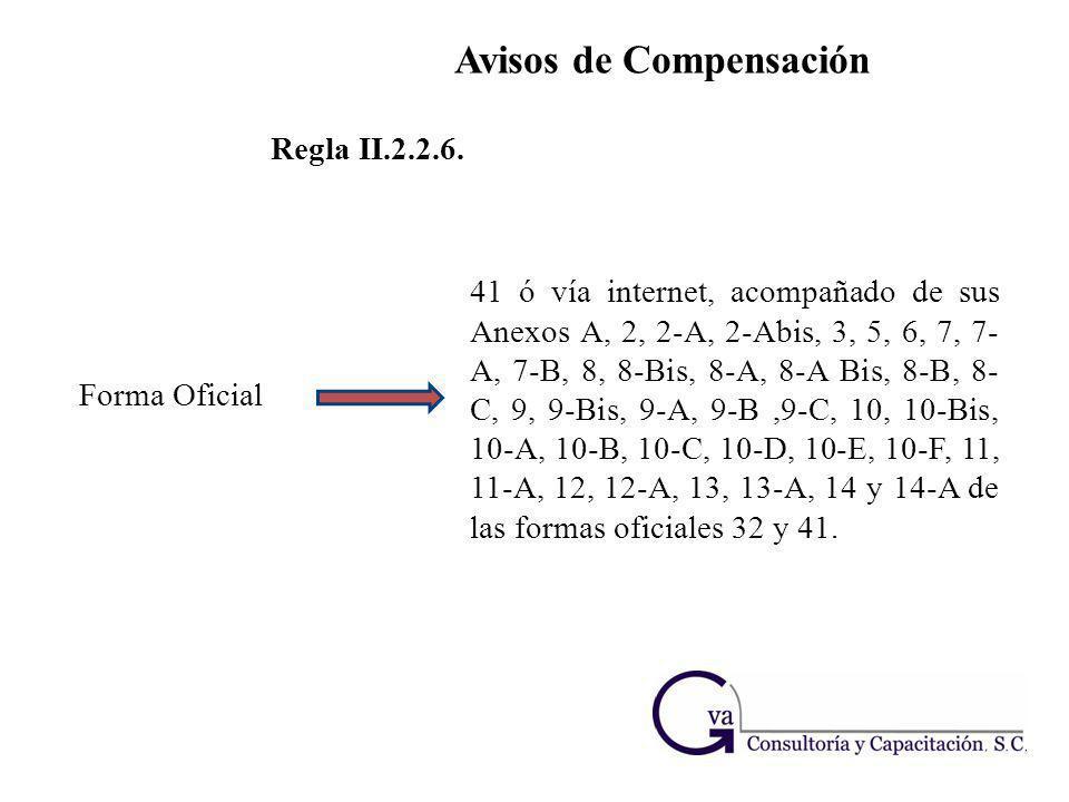 Avisos de Compensación Regla II.2.2.6. Forma Oficial 41 ó vía internet, acompañado de sus Anexos A, 2, 2-A, 2-Abis, 3, 5, 6, 7, 7- A, 7-B, 8, 8-Bis, 8