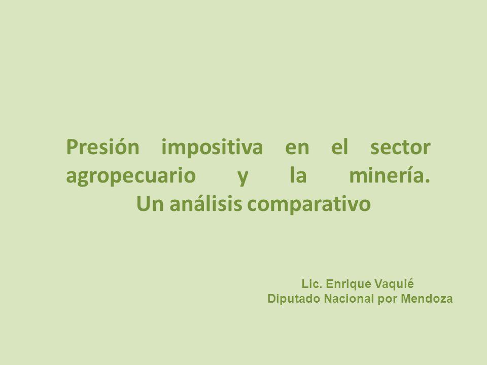 Presión impositiva en el sector agropecuario y la minería.