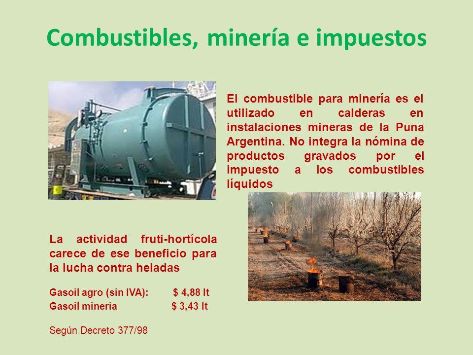 Combustibles, minería e impuestos El combustible para minería es el utilizado en calderas en instalaciones mineras de la Puna Argentina.