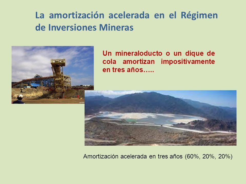 La amortización acelerada en el Régimen de Inversiones Mineras Un mineraloducto o un dique de cola amortizan impositivamente en tres años…..