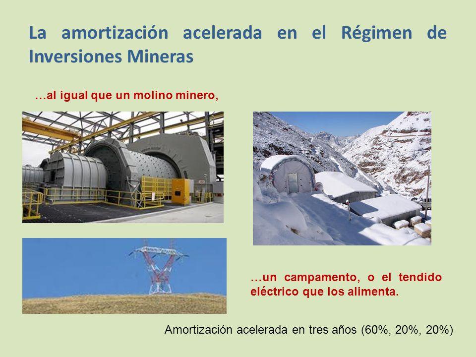 La amortización acelerada en el Régimen de Inversiones Mineras …al igual que un molino minero, …un campamento, o el tendido eléctrico que los alimenta.