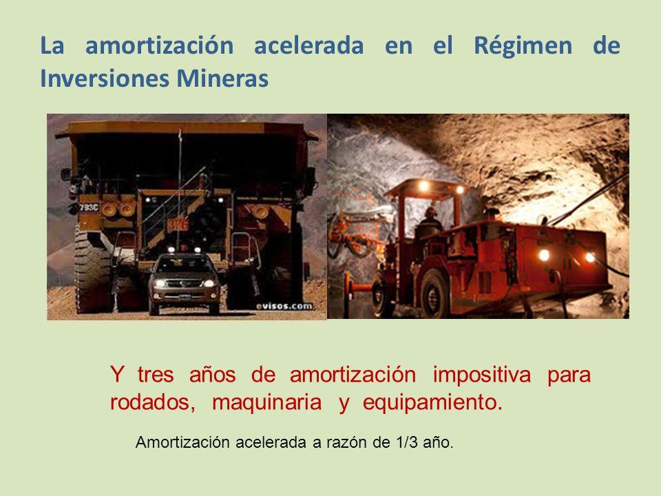 La amortización acelerada en el Régimen de Inversiones Mineras Y tres años de amortización impositiva para rodados, maquinaria y equipamiento.