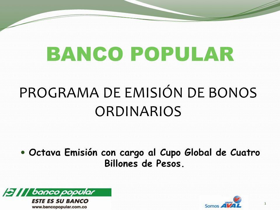 PROGRAMA DE EMISIÓN DE BONOS ORDINARIOS Octava Emisión con cargo al Cupo Global de Cuatro Billones de Pesos. BANCO POPULAR 1