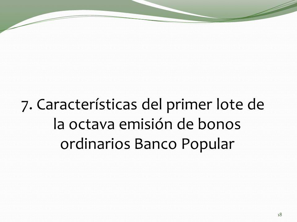 18 7. Características del primer lote de la octava emisión de bonos ordinarios Banco Popular