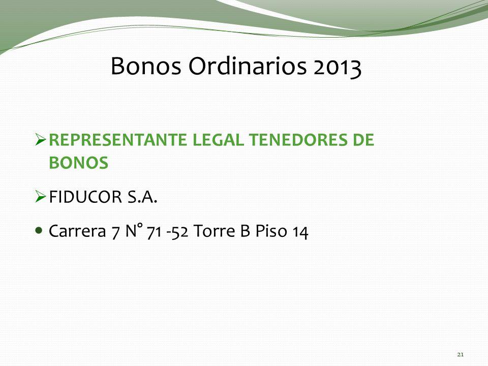 REPRESENTANTE LEGAL TENEDORES DE BONOS FIDUCOR S.A. Carrera 7 N° 71 -52 Torre B Piso 14 Bonos Ordinarios 2013 21