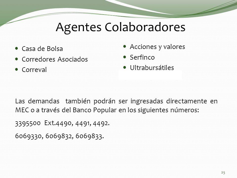 Agentes Colaboradores Las demandas también podrán ser ingresadas directamente en MEC o a través del Banco Popular en los siguientes números: 3395500 Ext.4490, 4491, 4492.