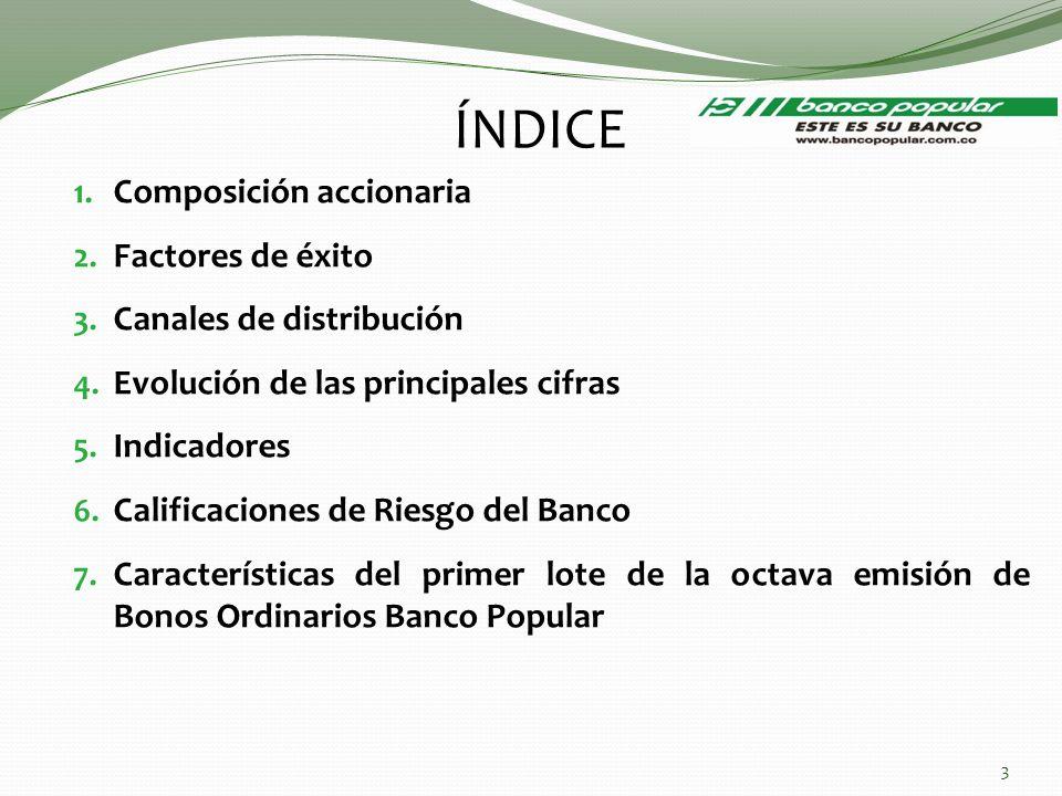 ÍNDICE 1. Composición accionaria 2. Factores de éxito 3. Canales de distribución 4. Evolución de las principales cifras 5. Indicadores 6. Calificacion