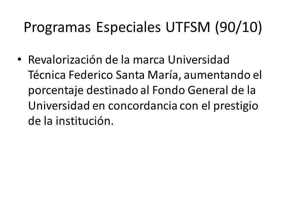 Programas Especiales UTFSM (90/10) Revalorización de la marca Universidad Técnica Federico Santa María, aumentando el porcentaje destinado al Fondo General de la Universidad en concordancia con el prestigio de la institución.