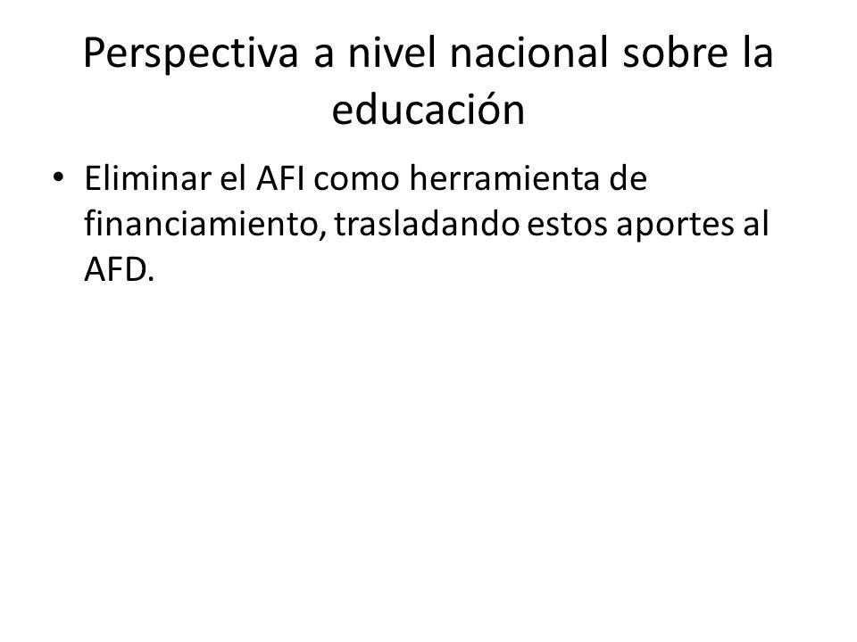 Perspectiva a nivel nacional sobre la educación Eliminar el AFI como herramienta de financiamiento, trasladando estos aportes al AFD.