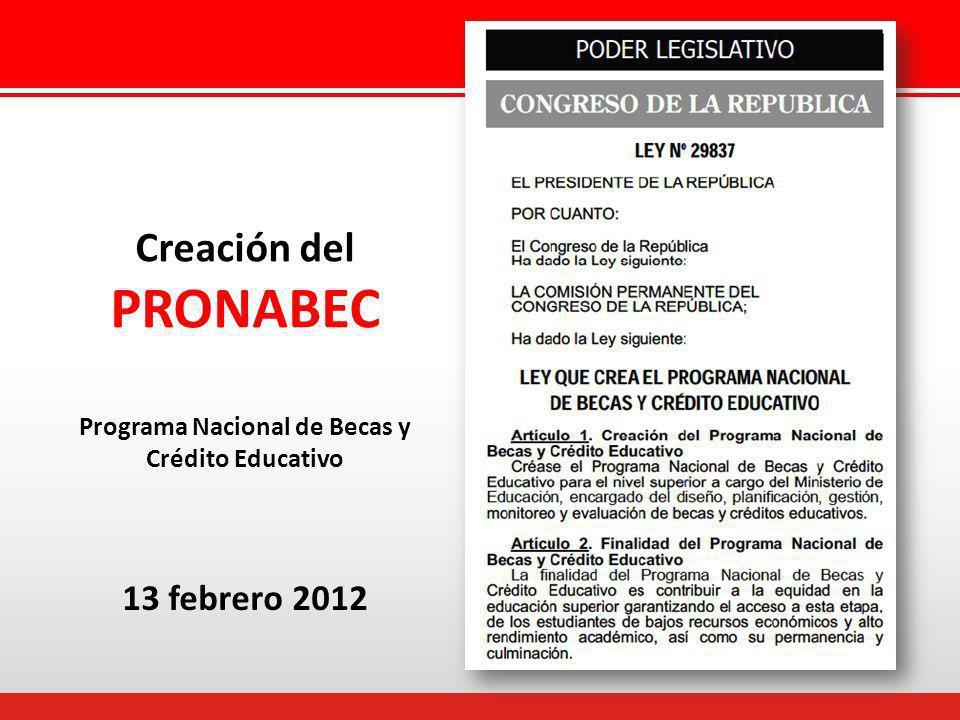 Creación del PRONABEC 13 febrero 2012 Programa Nacional de Becas y Crédito Educativo