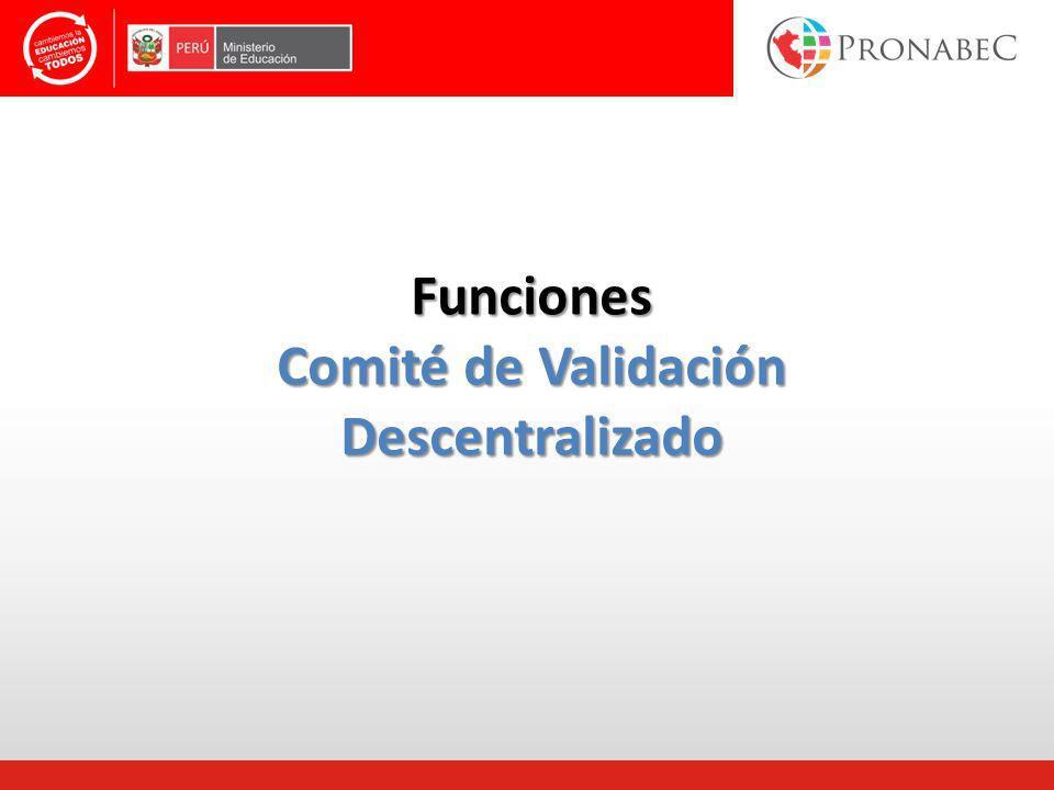 Funciones Comité de Validación Descentralizado