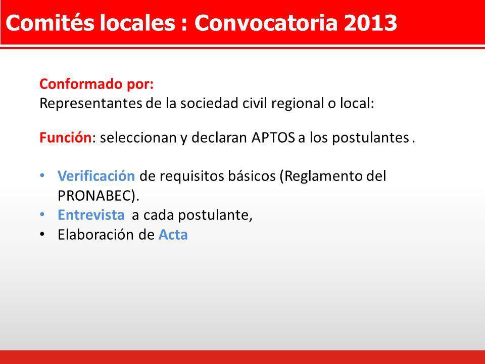 Comités locales : Convocatoria 2013 Conformado por: Representantes de la sociedad civil regional o local: Función: seleccionan y declaran APTOS a los
