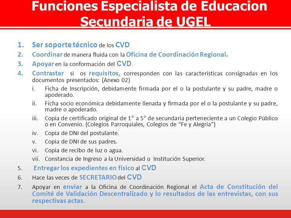 Funciones Especialista de Educacion Secundaria de UGEL 1.Ser soporte técnico de los CVD 2.Coordinar de manera fluida con la Oficina de Coordinación Re
