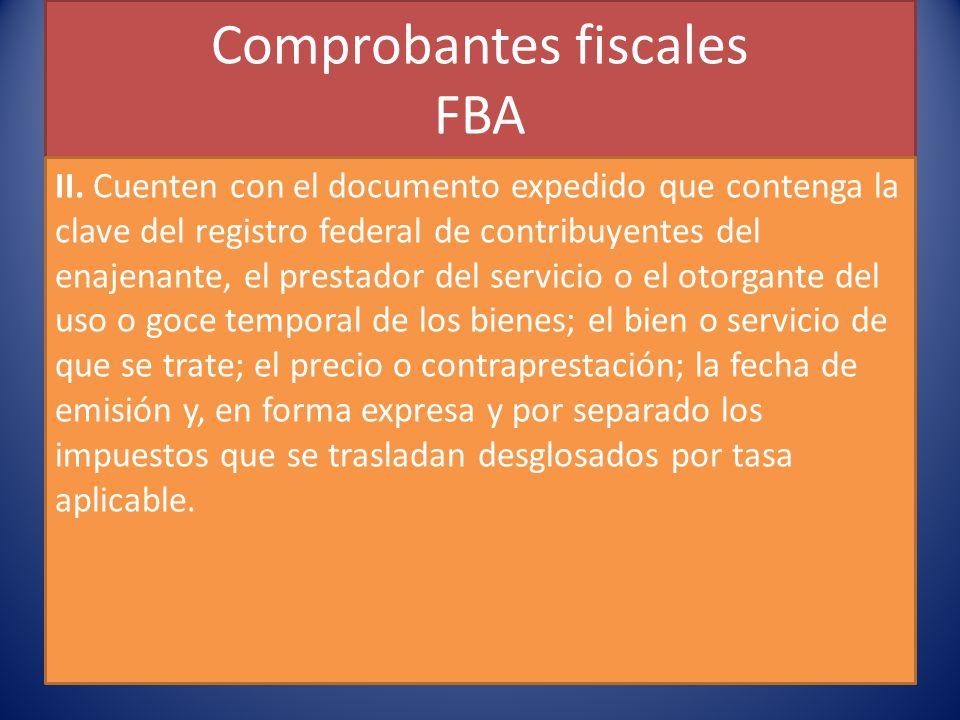 Comprobantes fiscales FBA II.