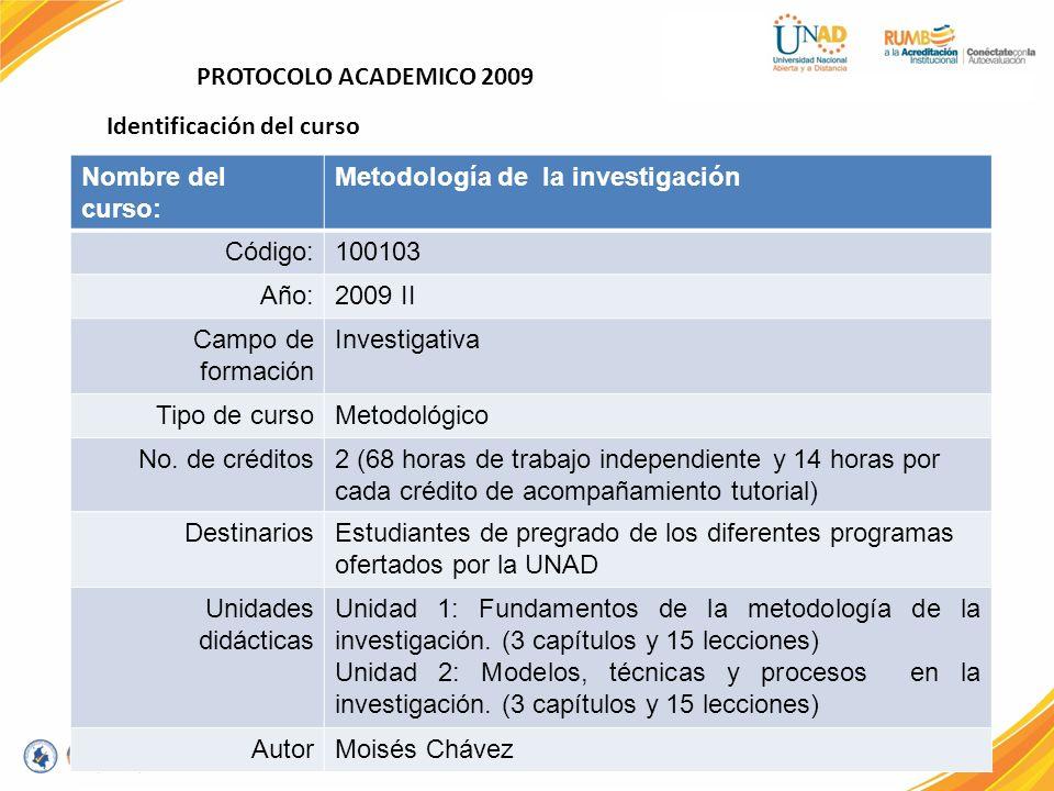 PROTOCOLO ACADEMICO 2009 Nombre del curso: Metodología de la investigación Código:100103 Año:2009 II Campo de formación Investigativa Tipo de cursoMet
