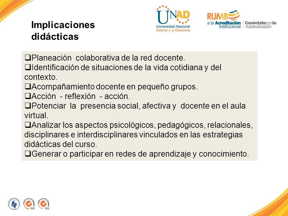 Implicaciones didácticas Planeación colaborativa de la red docente. Identificación de situaciones de la vida cotidiana y del contexto. Acompañamiento