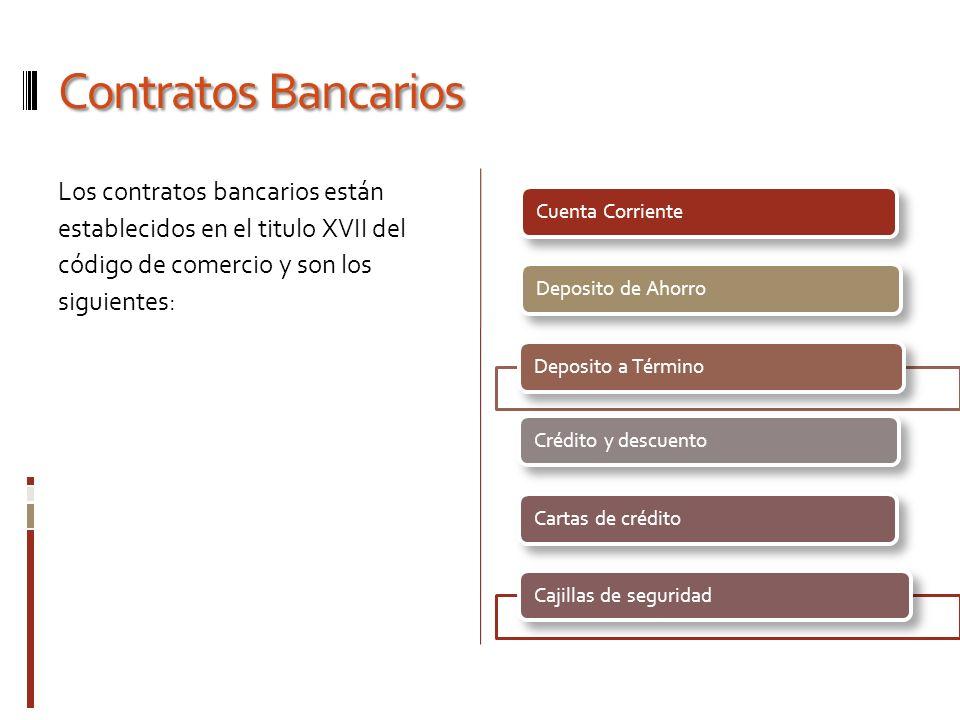 Contratos Bancarios Los contratos bancarios están establecidos en el titulo XVII del código de comercio y son los siguientes: Cuenta CorrienteDeposito
