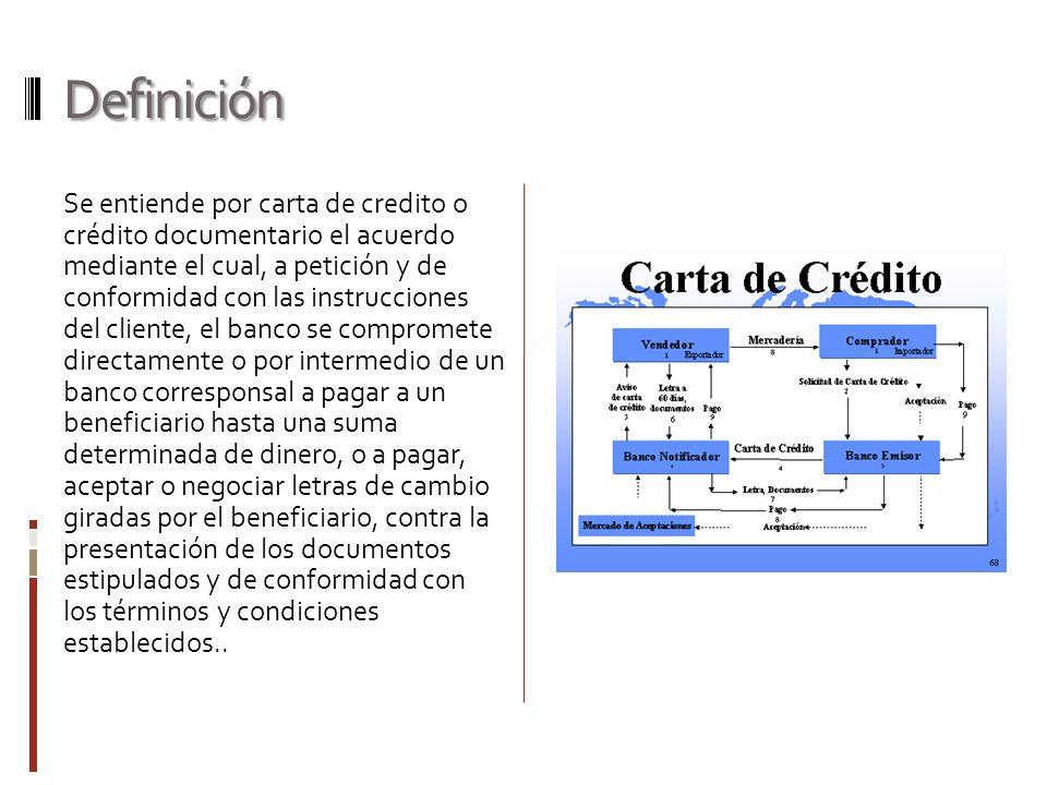 Definición Se entiende por carta de credito o crédito documentario el acuerdo mediante el cual, a petición y de conformidad con las instrucciones del