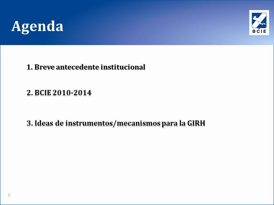Agenda 2. BCIE 2010-2014 3. Ideas de instrumentos/mecanismos para la GIRH 1. Breve antecedente institucional 2