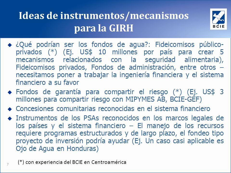 Ideas de instrumentos/mecanismos para la GIRH 7 ¿Qué podrían ser los fondos de agua?: Fideicomisos público- privados (*) (Ej. US$ 10 millones por país
