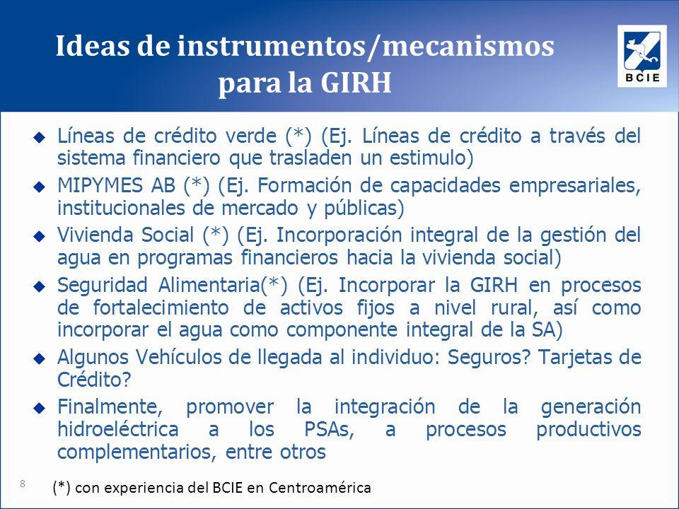 Ideas de instrumentos/mecanismos para la GIRH 8 Líneas de crédito verde (*) (Ej. Líneas de crédito a través del sistema financiero que trasladen un es