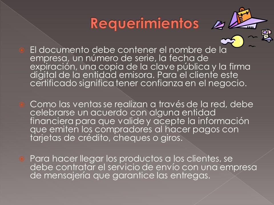 El documento debe contener el nombre de la empresa, un número de serie, la fecha de expiración, una copia de la clave pública y la firma digital de la