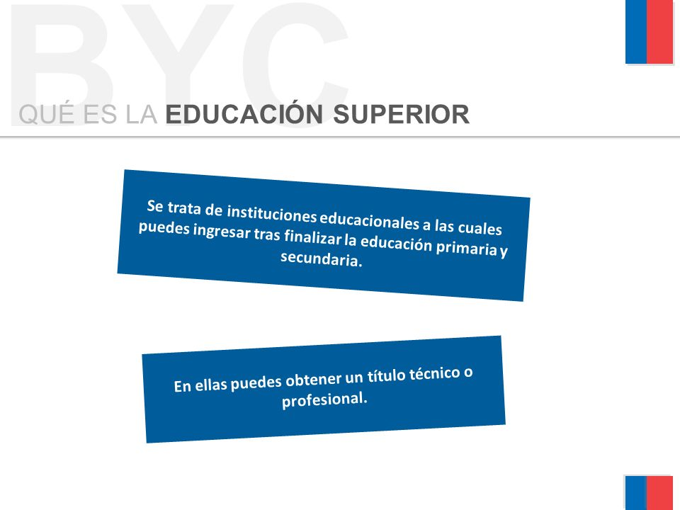 Se trata de instituciones educacionales a las cuales puedes ingresar tras finalizar la educación primaria y secundaria.