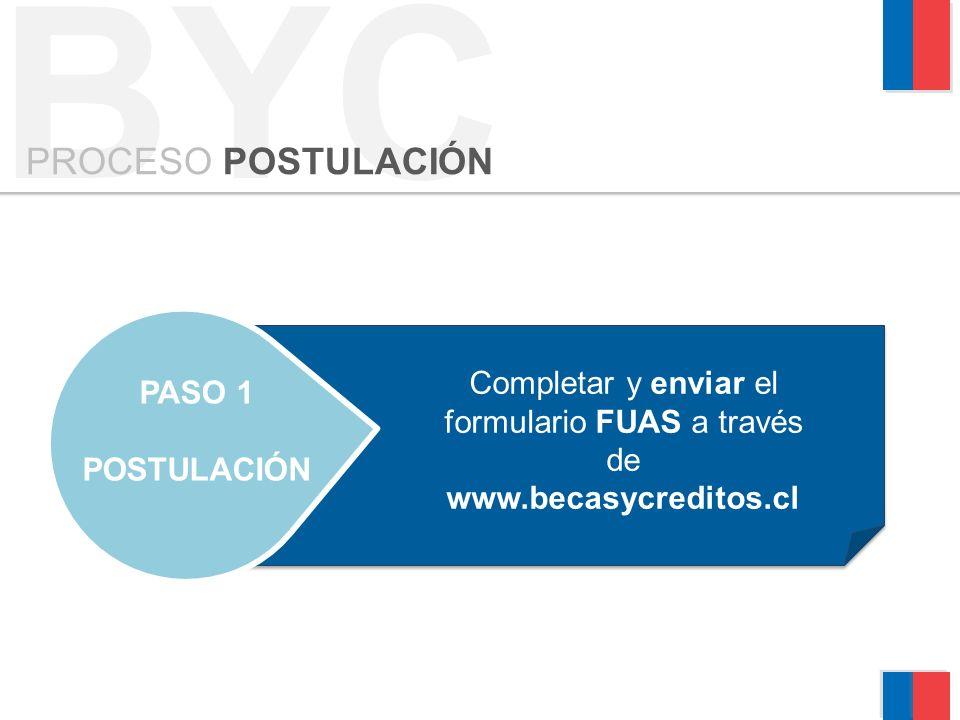BYC PROCESO POSTULACIÓN PASO 1 POSTULACIÓN Completar y enviar el formulario FUAS a través de www.becasycreditos.cl