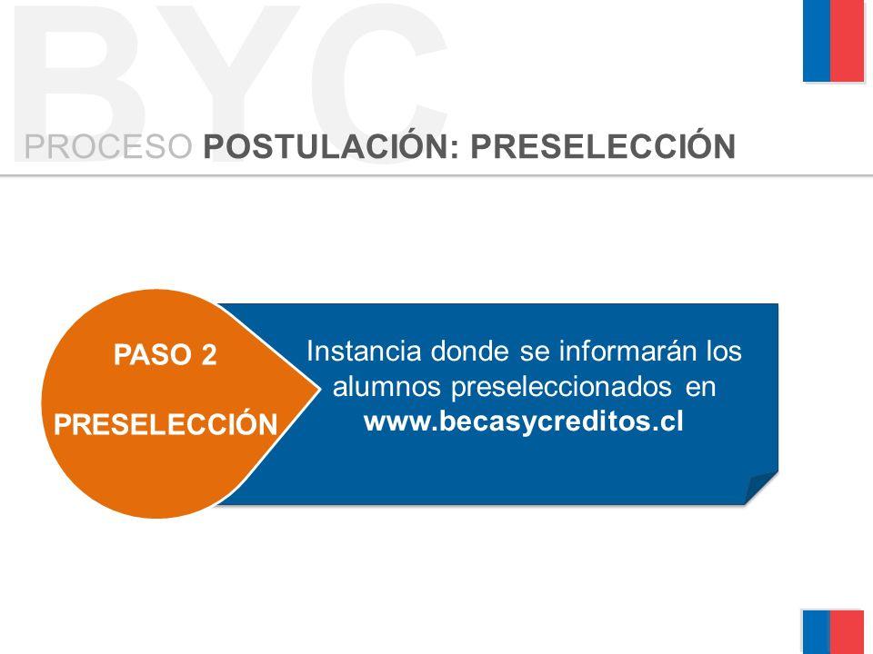 BYC PROCESO POSTULACIÓN: PRESELECCIÓN PASO 2 PRESELECCIÓN 3 MATRICULA Instancia donde se informarán los alumnos preseleccionados en www.becasycreditos.cl
