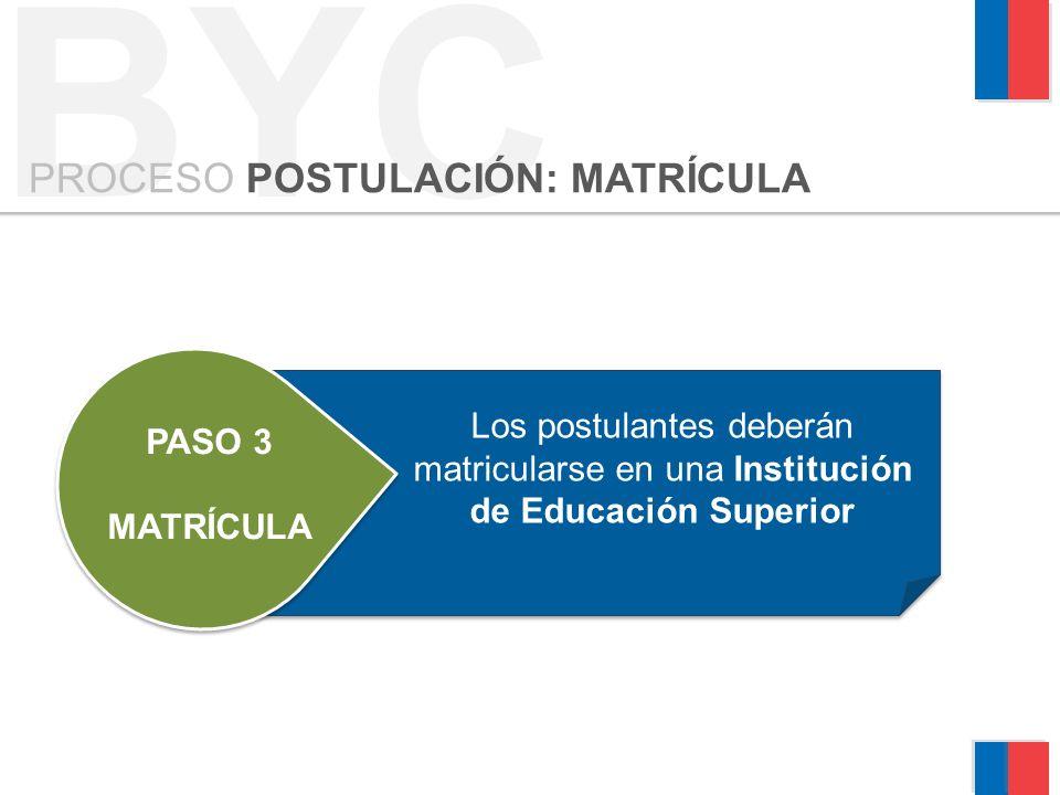 BYC PROCESO POSTULACIÓN: MATRÍCULA PASO 3 MATRÍCULA Los postulantes deberán matricularse en una Institución de Educación Superior