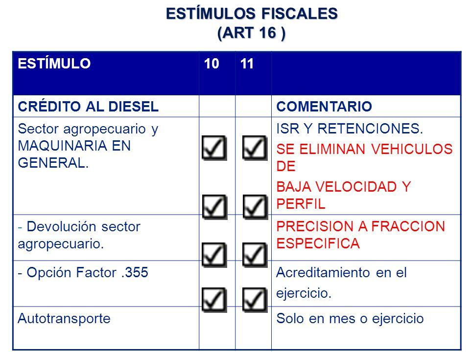 ESTÍMULO1011 CRÉDITO AL DIESELCOMENTARIO Sector agropecuario y MAQUINARIA EN GENERAL.