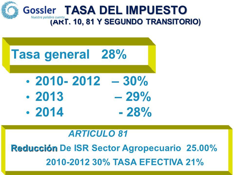 TASA DEL IMPUESTO (ART.