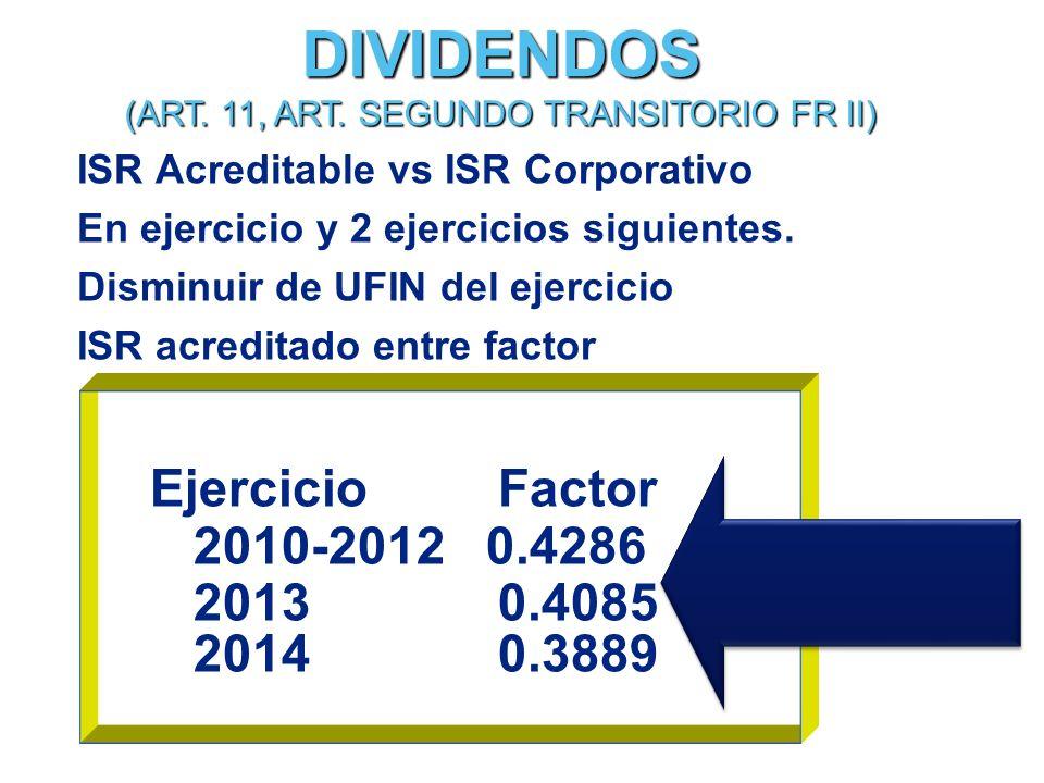 ISR Acreditable vs ISR Corporativo En ejercicio y 2 ejercicios siguientes.