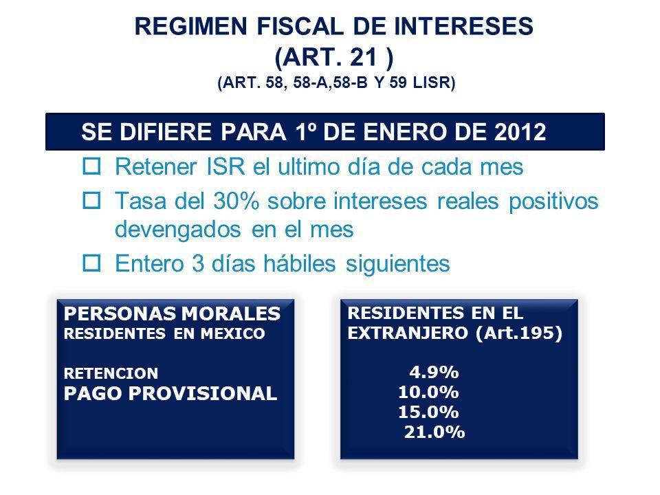 REGIMEN FISCAL DE INTERESES (ART.21 ) (ART.