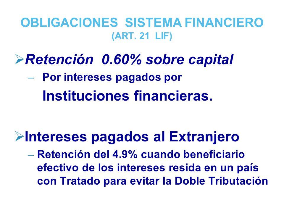 OBLIGACIONES SISTEMA FINANCIERO (ART.