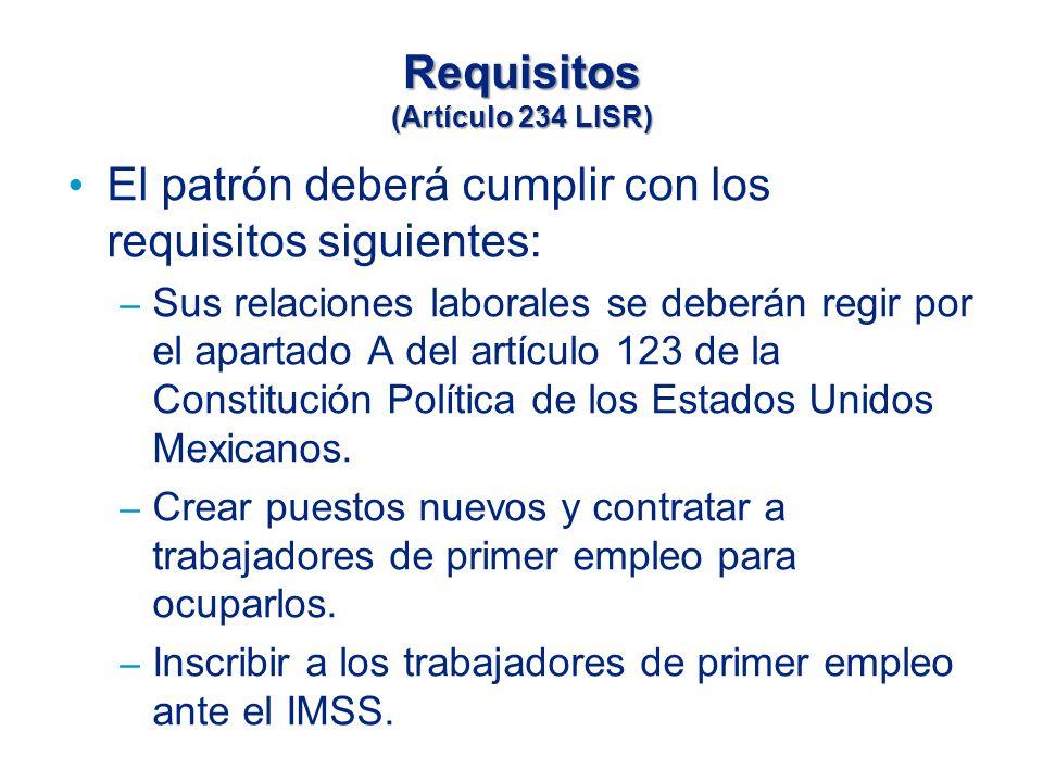 Requisitos (Artículo 234 LISR) El patrón deberá cumplir con los requisitos siguientes: – Sus relaciones laborales se deberán regir por el apartado A del artículo 123 de la Constitución Política de los Estados Unidos Mexicanos.