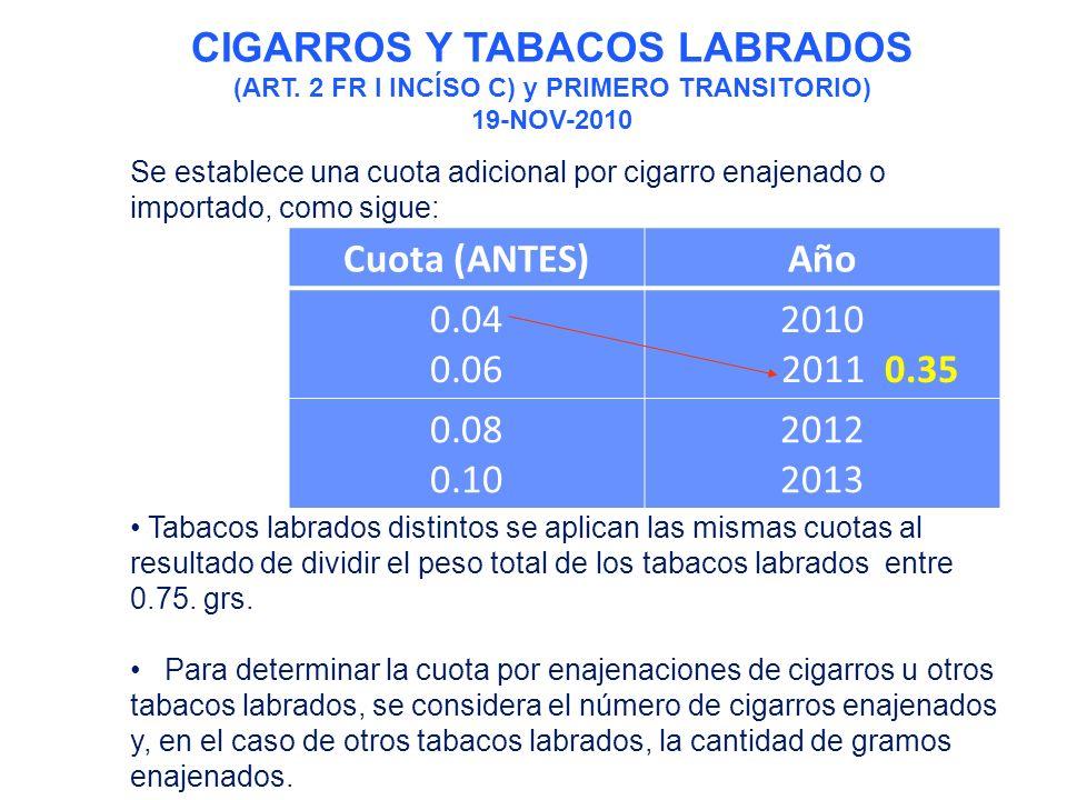 Se establece una cuota adicional por cigarro enajenado o importado, como sigue: Tabacos labrados distintos se aplican las mismas cuotas al resultado de dividir el peso total de los tabacos labrados entre 0.75.