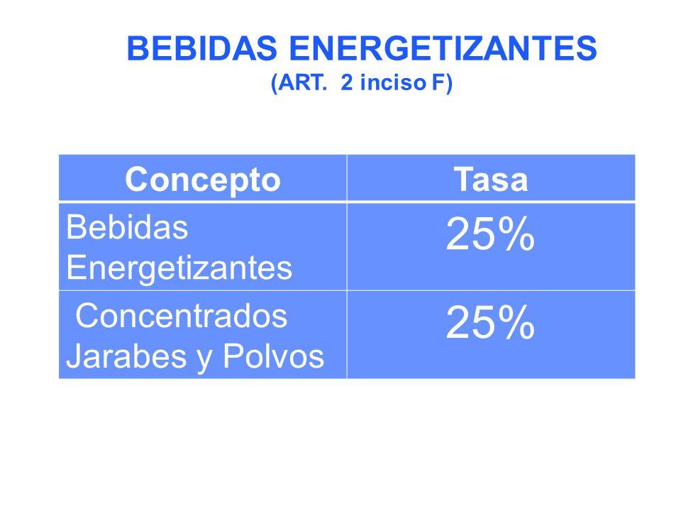 ConceptoTasa Bebidas Energetizantes 25% Concentrados Jarabes y Polvos 25% BEBIDAS ENERGETIZANTES (ART.