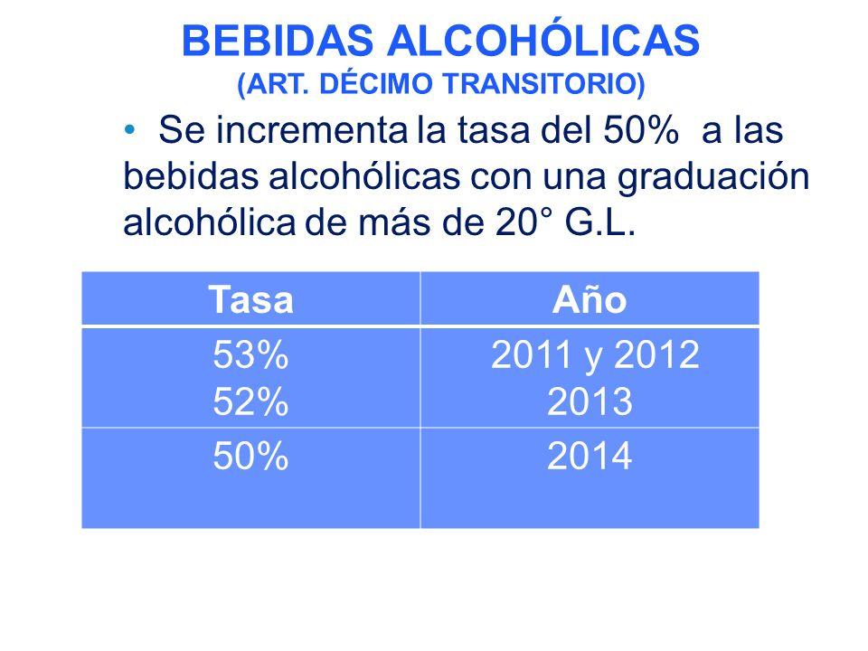 Se incrementa la tasa del 50% a las bebidas alcohólicas con una graduación alcohólica de más de 20° G.L.