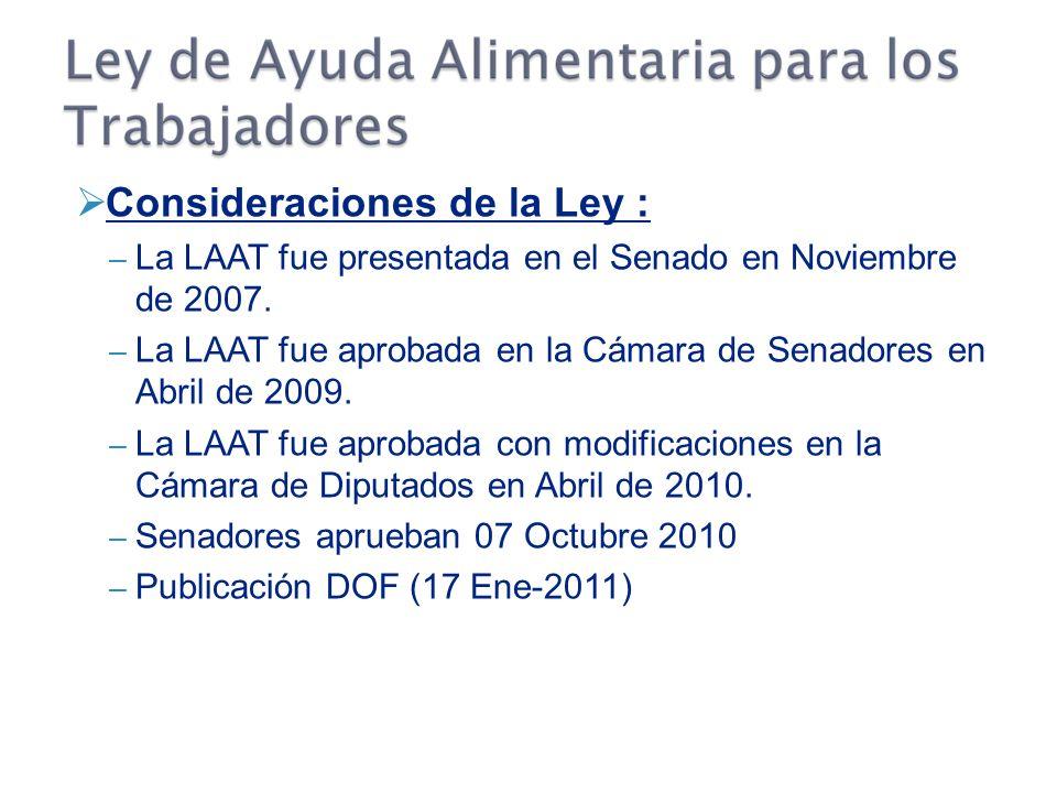 Consideraciones de la Ley : – La LAAT fue presentada en el Senado en Noviembre de 2007.