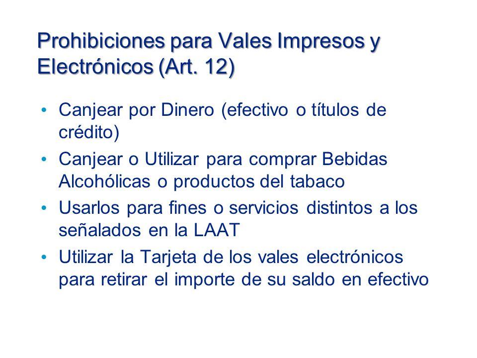 Prohibiciones para Vales Impresos y Electrónicos (Art.
