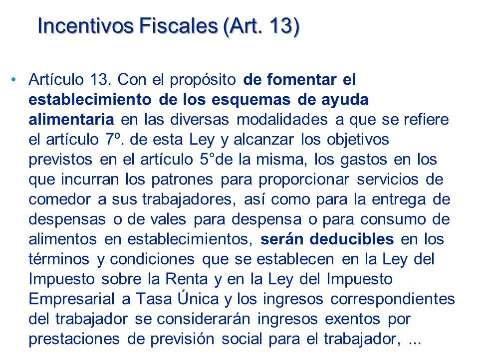 Incentivos Fiscales (Art.13) Artículo 13.
