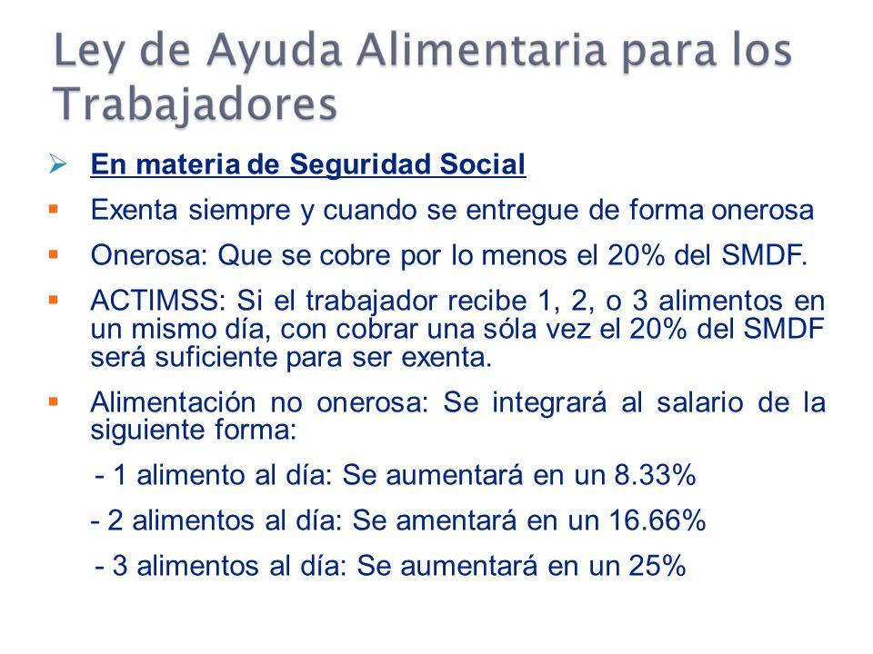 En materia de Seguridad Social Exenta siempre y cuando se entregue de forma onerosa Onerosa: Que se cobre por lo menos el 20% del SMDF.
